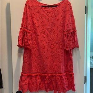 Anthropologie Pink/Salmon Eyelet tunic/dress